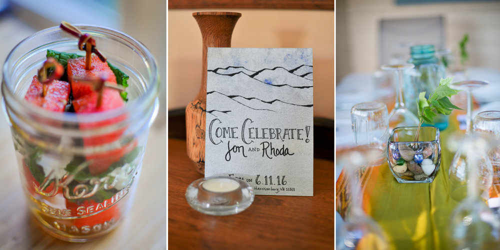 Of course when you marry an amazing chef, you have to make all the food (feta, mint. and watermelon skewers).  And the invitations (background painted by Jon & I, mountains by Jon, hand lettered by Rhoda).  And the centerpieces (mini trees growing in our backyard).