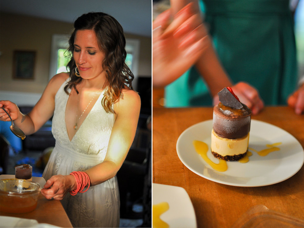 Vegan, raw passion fruit and chocolate cheesecakes. Photos by Sandy King.