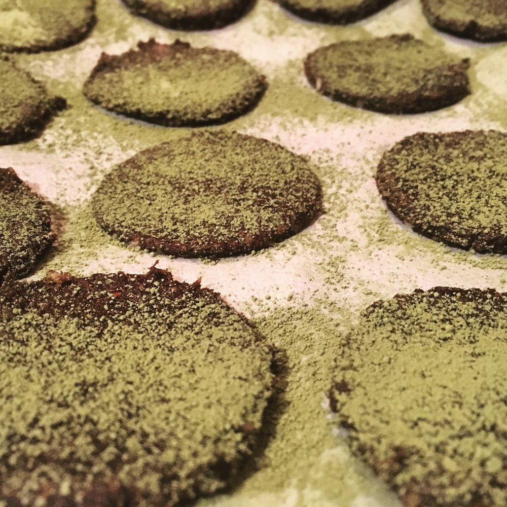 Dark Chocolate Matcha Date Cookies