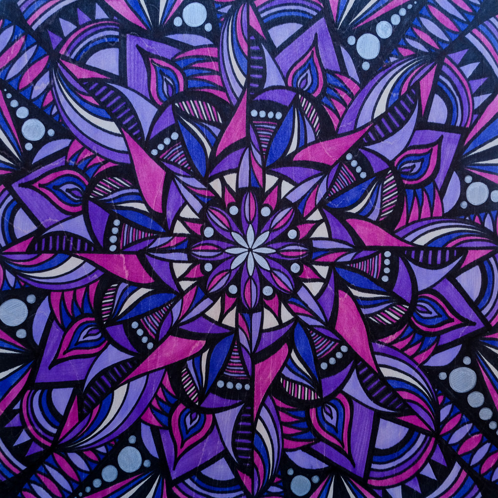 Crown Chakra  | 12 x 12 | marker on wood