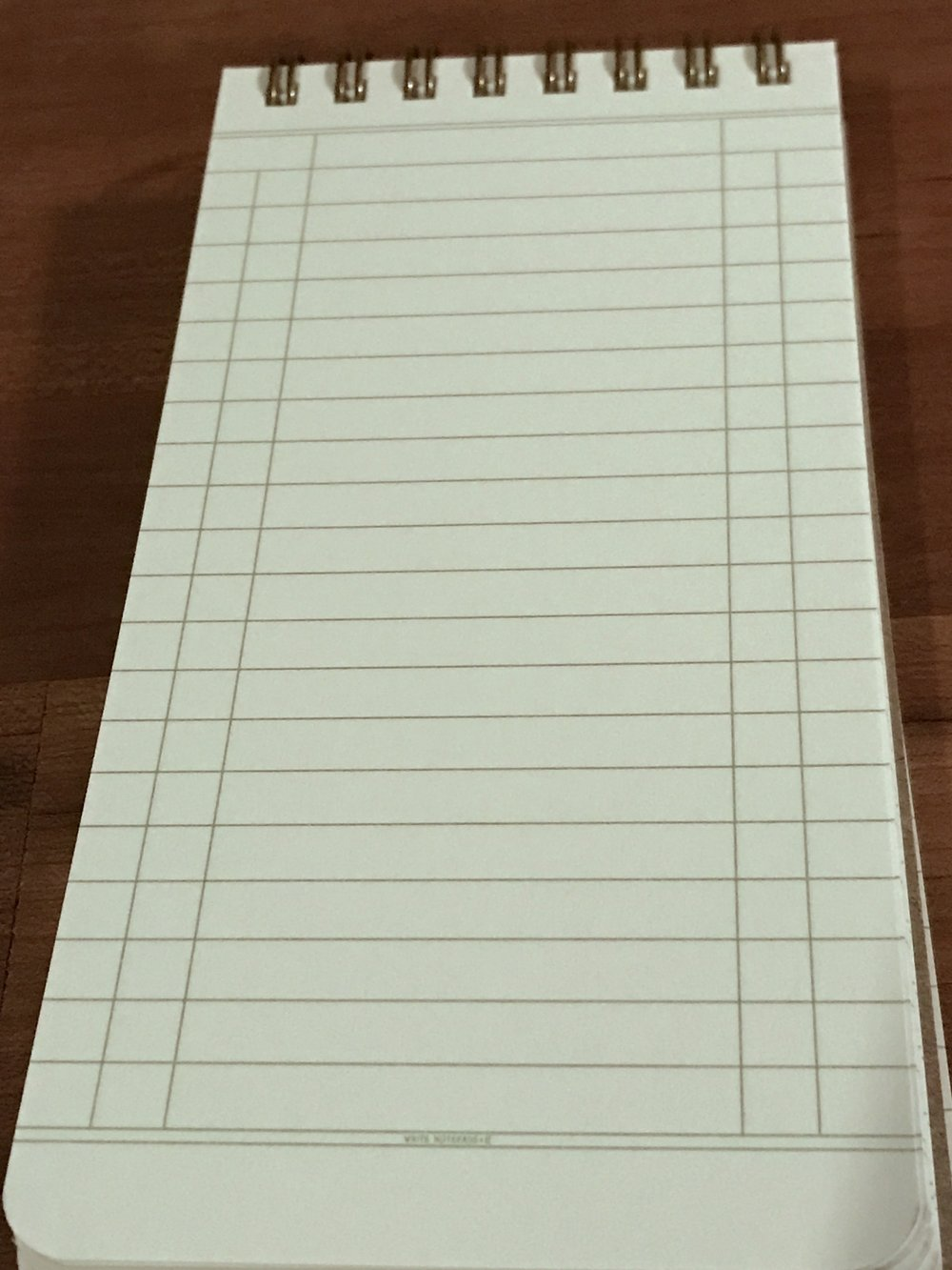 It says Write Notepads Co in teensy tiny little letters.