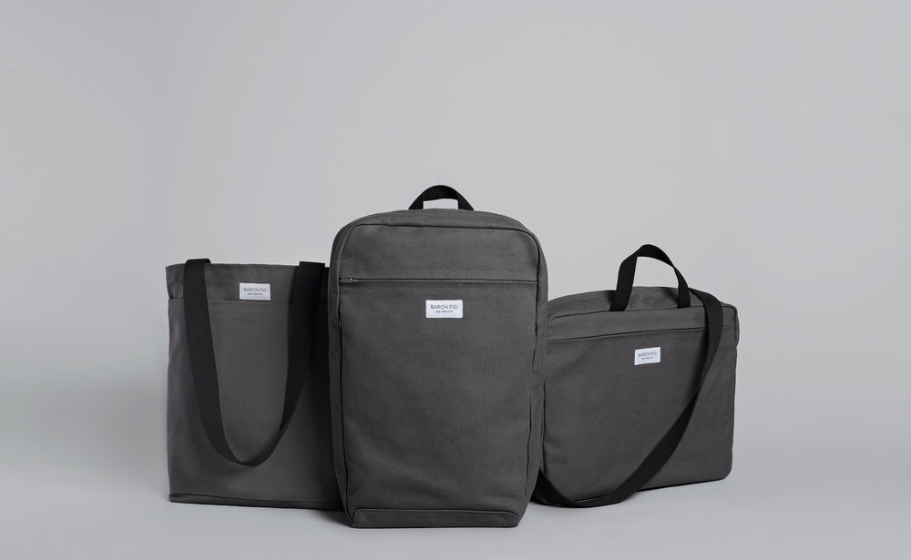 The three bags in the Charcoal option.