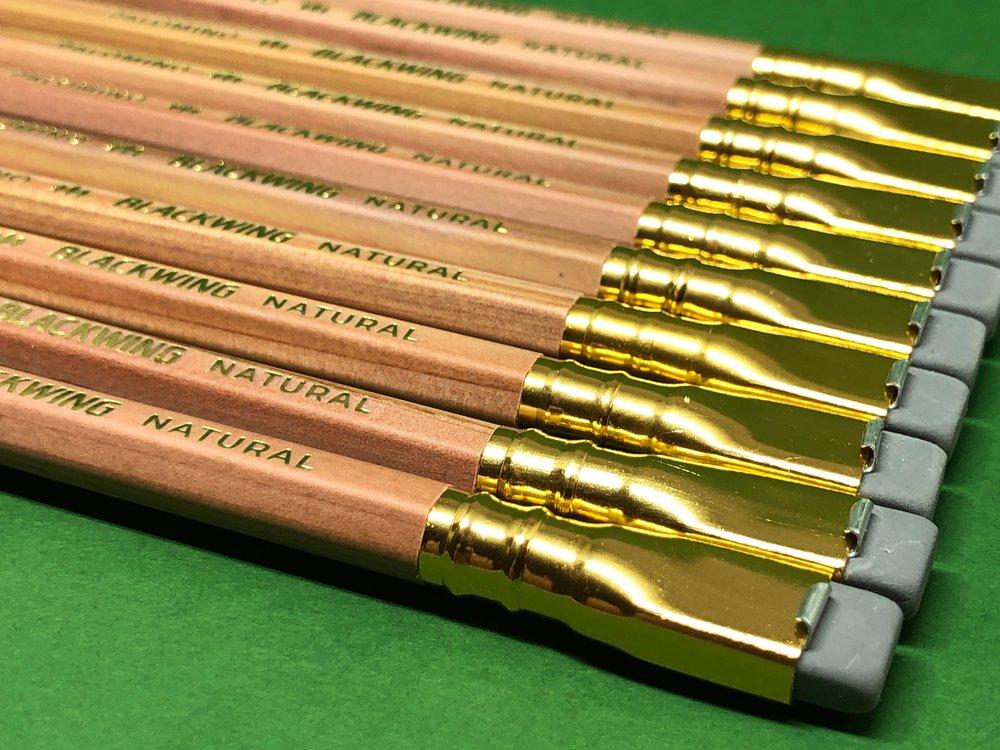 Gold ferrule, grey eraser.