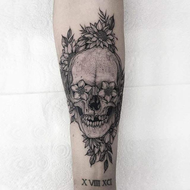 Skull with flower eyes on forearm. Thanks again Andrew ✌🏻 #tattoo #fineline #etching #blackwork #blackandgrey #fineline #dotwork #skull #flowers