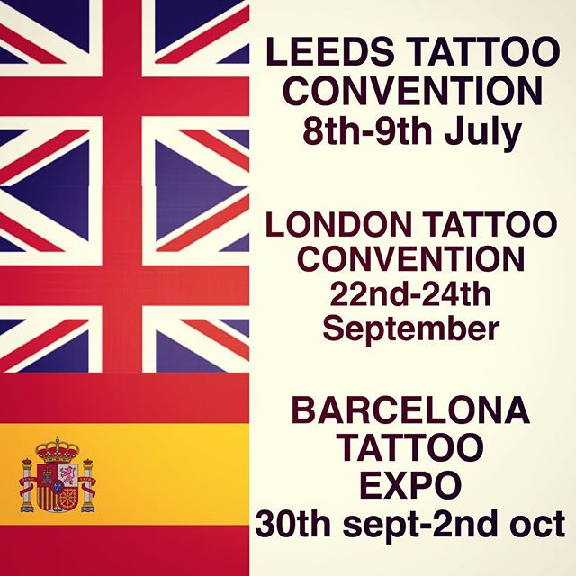 I am now taking bookings for these conventions, please email if you are interested in getting tattooed by me at any of these! joecarpentertattoo@gmail.com