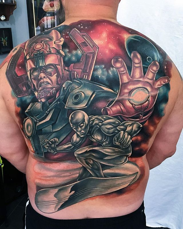 Finished this today, Galactus and the Silver Surfer! About five days work. @fivekeystattoo
