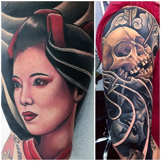 Spent some time working on this sleeve today, a lot of cover up work to come next. @fivekeystattoo