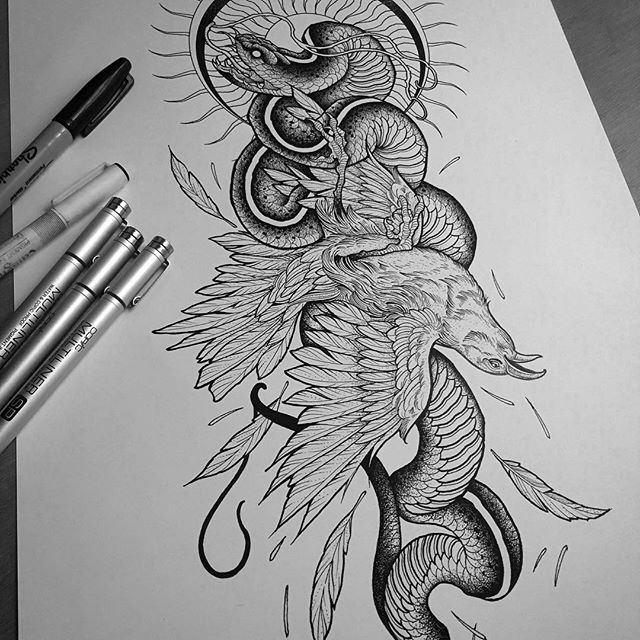 Ongoing sleeve piece I'm working on. Flowers to be added in. #tattoo #fineline #etching #blackandgrey #tattoos #dotwork #sleevetattoo #sleeve #bird #snake #illustration #fivekeystattoo