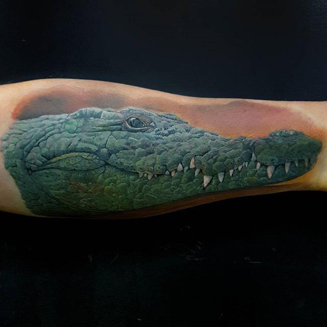 My offering, of a Crocodile, to the #norwichbodyartfestival  #crocodile #crocodiletattoo #wildlifetattoo #tattoo #norwich #norwichtattooist #norwichtattoo #fivekeystattoo