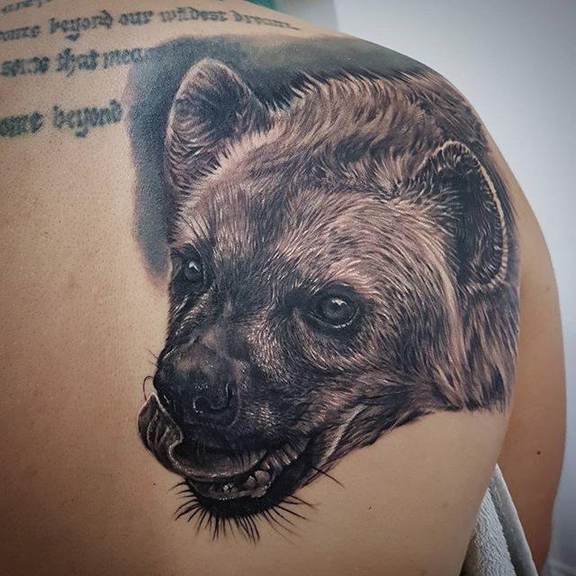 Started this hyena backpiece yesterday, and am continuing it today. Lots more work to go. #hyena #wildlifetattoo #blackandgrey #realism #realismtattoo #norwichtattooist #norwichtattoo #norwich #fivekeystattoo