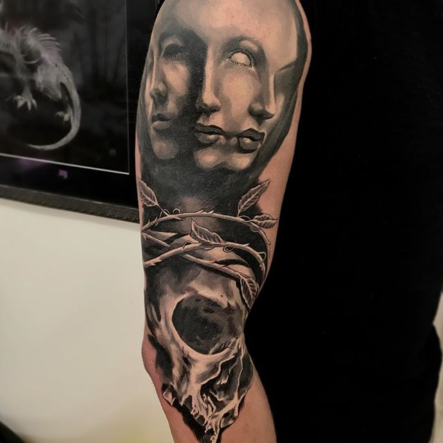 First two sessions down on Matt's sleeve. The faces at the top are fully healed, skull etc is fresh! #tattoo #blackandgrey #tattooed_body_art #tattoolifegallery #skinartmag #skinart_healed #realism #workinprogress #norwich #femaletattooersfriday