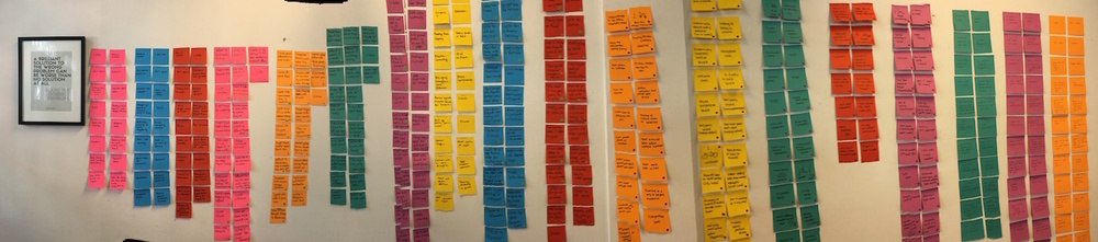 Look at the post-its covered wall! These post-its are the findings that we have extracted from our interviewees. Sorting them out would give us a better understanding of their behaviours and the factors affecting them.