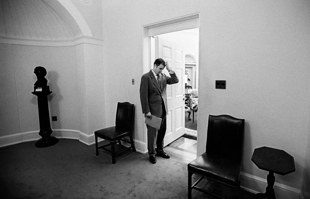 10.13.00--The White House--Doug Band, President Clinton's personal assistant waits just outside the Oval Office.