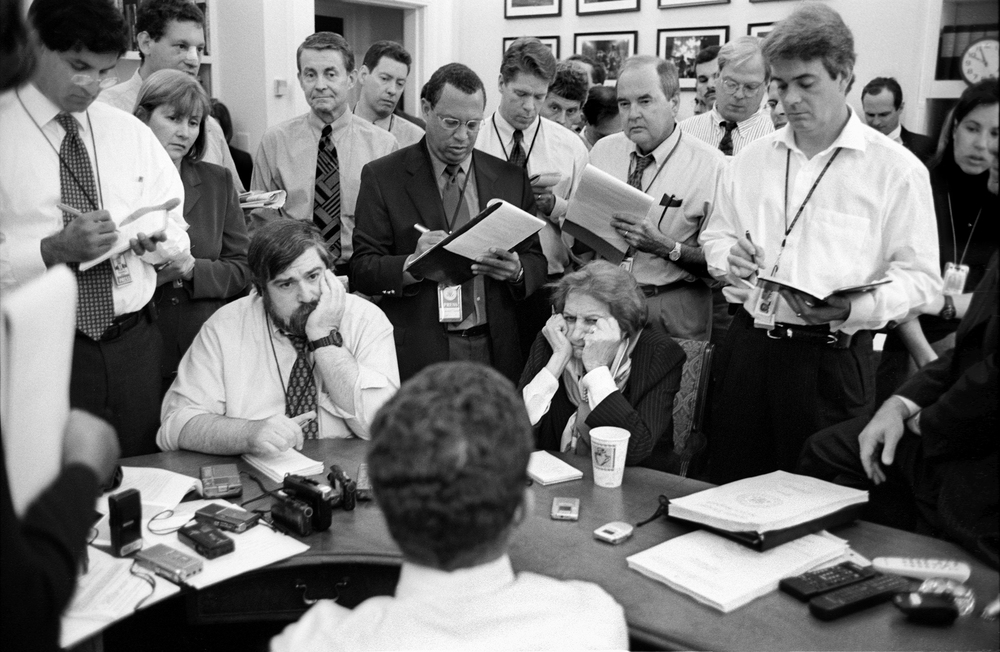10.13.00--Washington, DC--The Press Corps gather around Press Secretary Jake Siewart for the morning gaggle as the Middle East peace crisis heats up again on the heels of the U.S.S. Cole bombing.