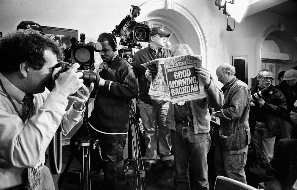 3.20.03--Washington, DC--Pete Souza makes a picture in the White House briefing room before the arrival of the Press Secretary hours after the bombing of Baghdad.