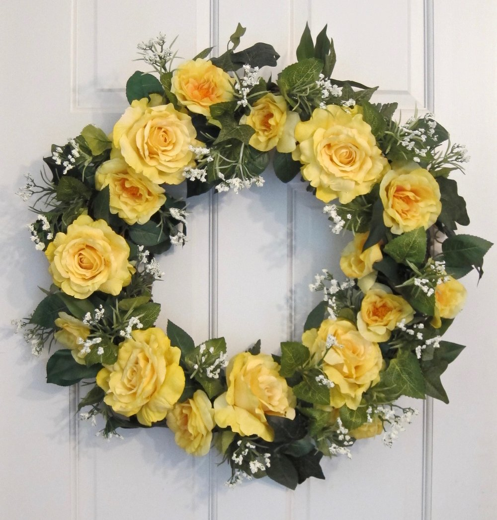 FAUX FLORAL WREATHs can be custom made for long-lasting outdoor tributes. Priced according to size and materials ranging from $65 to $125.