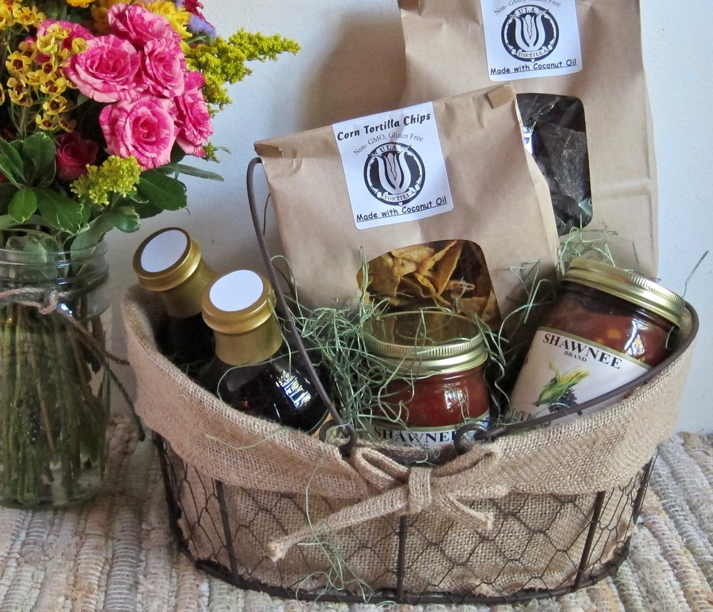 SALSAS AND CIDERS wire gift basket contains two salsas, two ciders and two types of tortilla chips, $49.