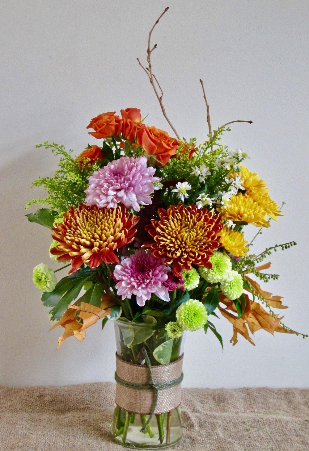 BURLAP BOUQUET, 6 inch vase, $40.