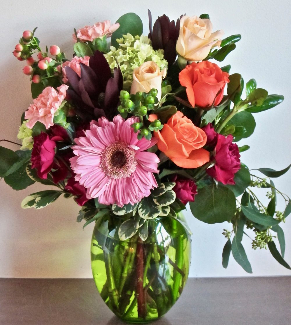 MEDIUM VASE BOUQUET   One-sided orientation , $40.  Round orientation,  $45.