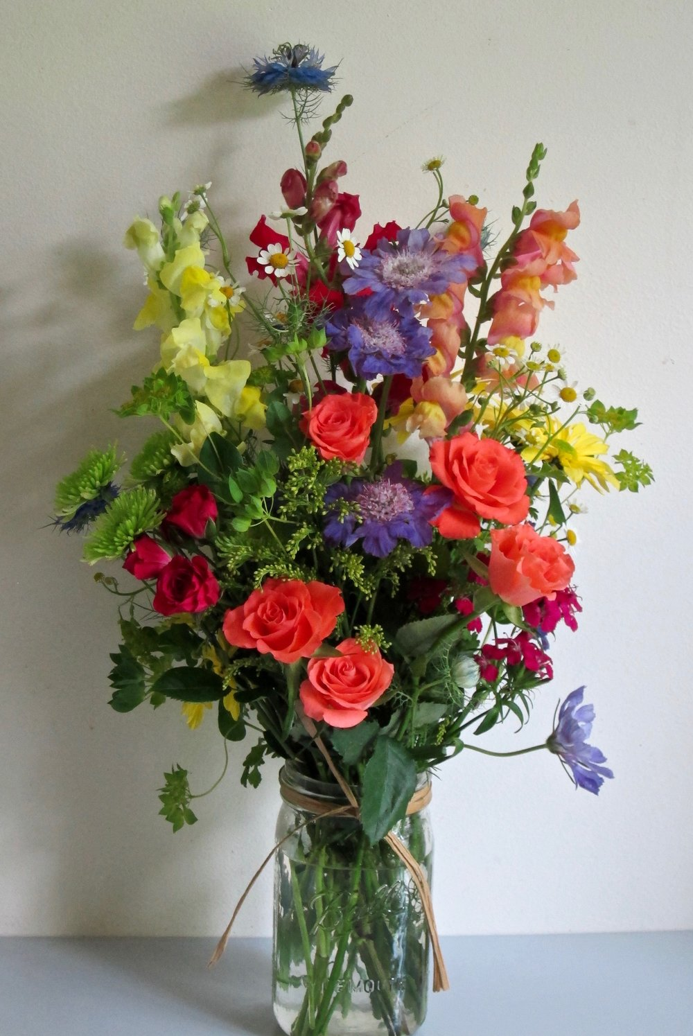 MASON JAR   Country flowers and foliages,  $40.
