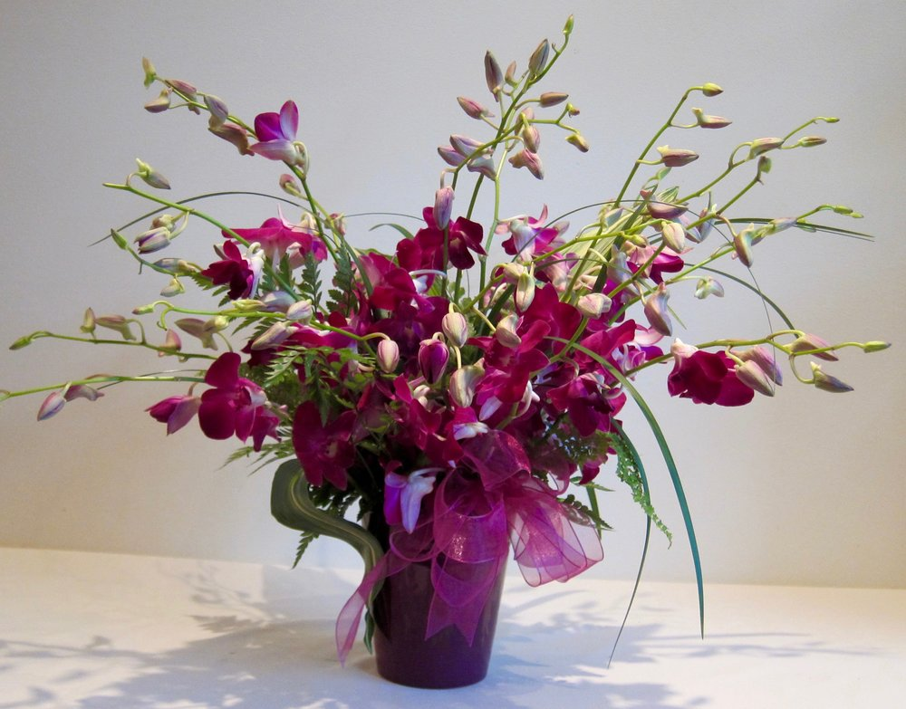 HAPPY ANNIVERSARY   Dendrobrium orchids in a ceramic vase, advance notice required, $125.