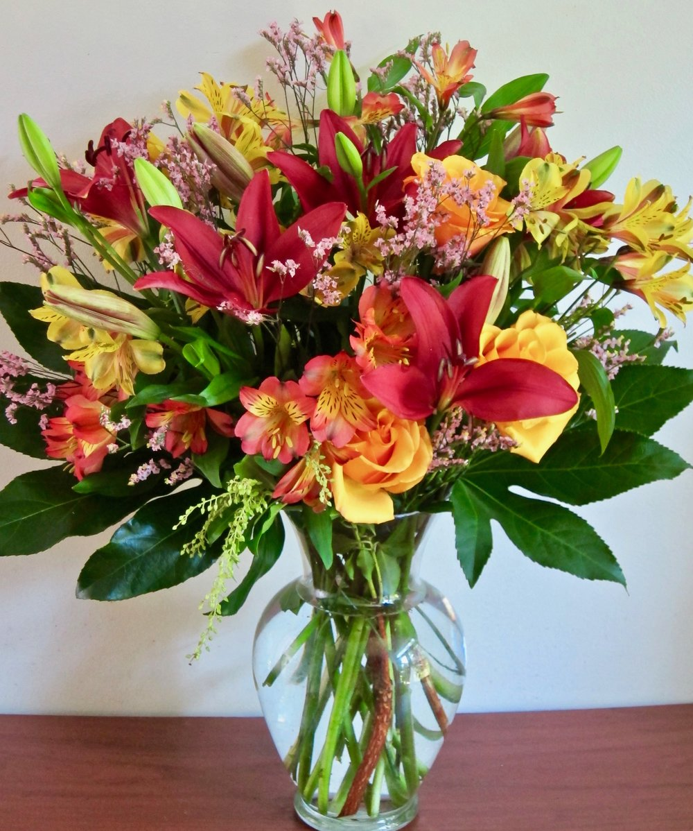 LARGE VASE BOUQUET   Lilies, roses, and alstroemeria in a large vase, $65.