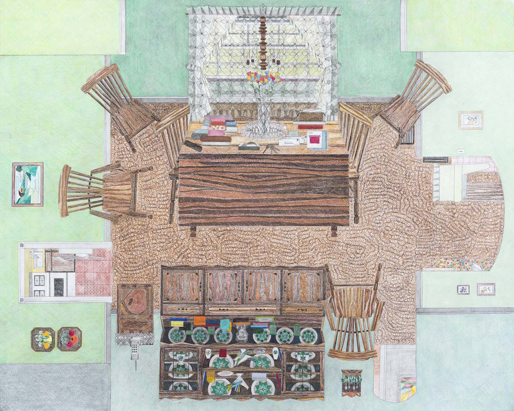 Dining Room Margie's Clutter  , 2013-15  Pencil, colored pencil and gouache on paper Print size:  28 x 38 inches Archival Pigment Print on Velvet Fine Art Rag Paper Signed and Numbered Edition of 15 $800  Print size: 16 x 26 inches,  $350