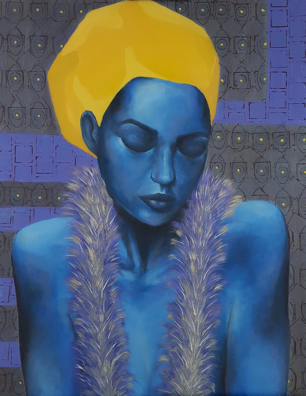 Blue woman 2. Pastels, Acrylics & oils on canvas. 59.5 x 76cm.jpg