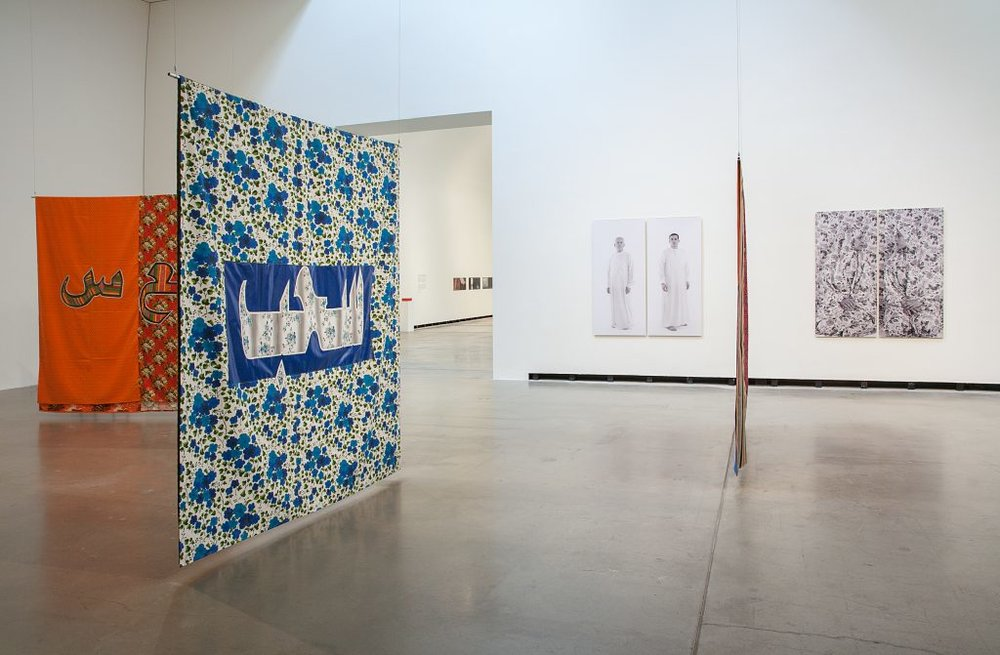 Exhibition view with works from Sama Alshaibi and Mounira Al Solh, photo by Hans Schroeder