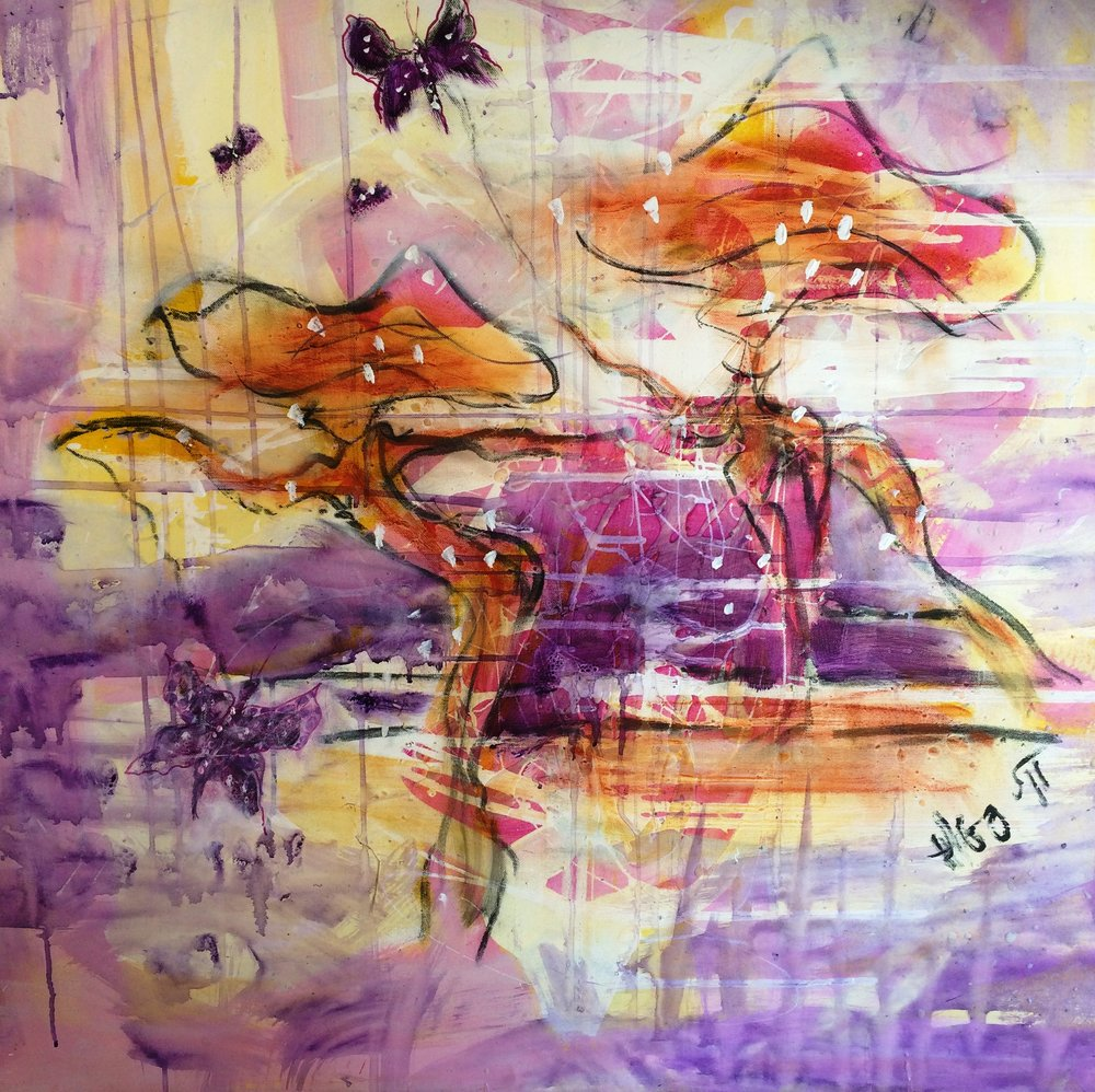 DANCING  IN PURPLE 100 X 100 cm acrylic on canvas HIlde Gustava.JPG
