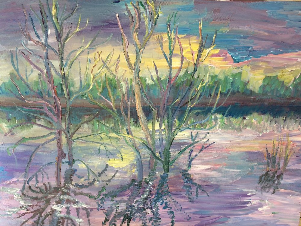 Trees in the water, acrylic, canvas, 50x70, 2017.jpg