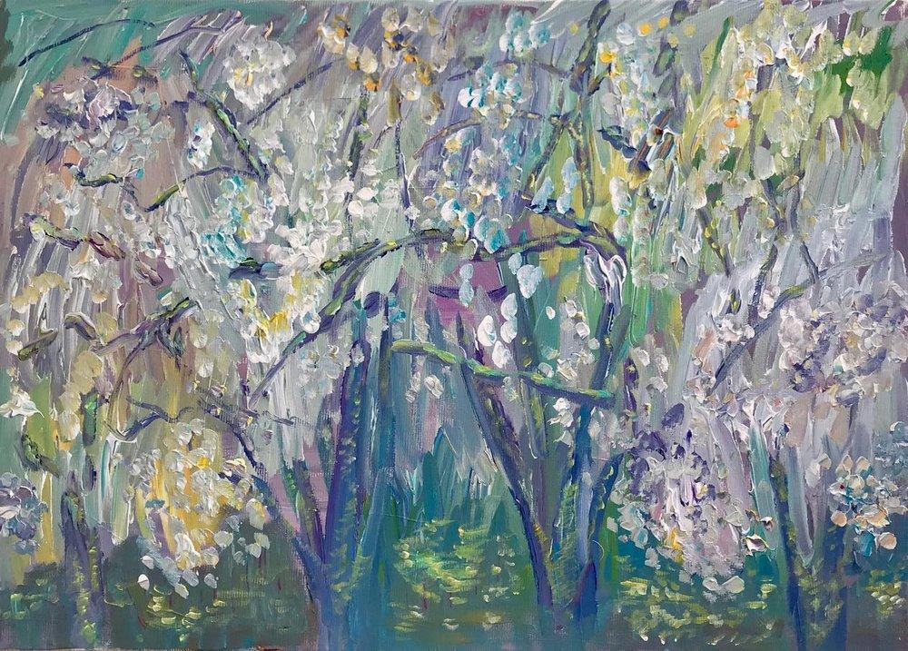 Apple trees in bloom, acrylic, canvas, 50x70, 2017.jpg