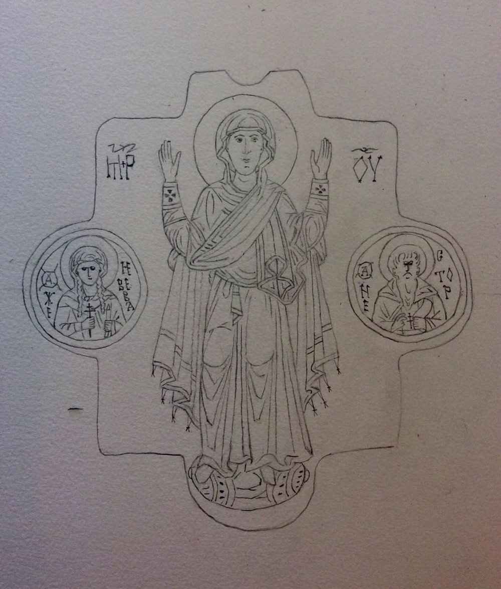 Mother of God with the saints Genevieve of Paris and Nestor the Chronicler, paper, pencil, drawing for the episcopal panagia, 2017.jpg