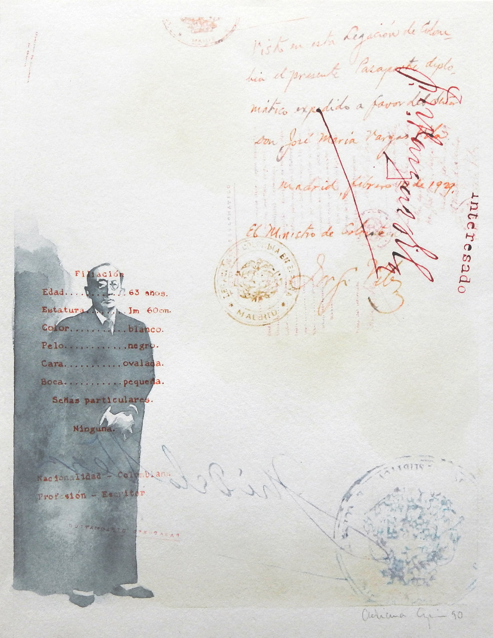 Passport, 1990, Watercolor, pen and ink, colored pencils on paper, 12 x 9.4 inches, (30.5 x 23.8 cm)