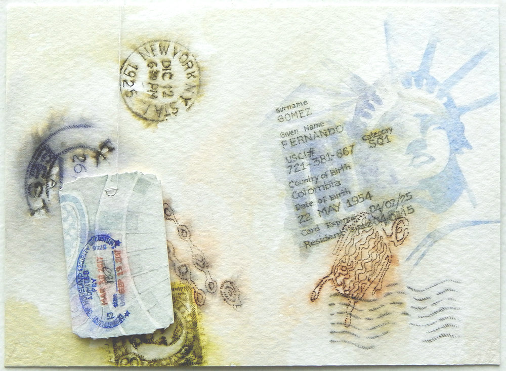Driver's license, 2017, watercolor, pen and ink on paper, 5,51 x 7,48 inches, (14 x 19 cm)