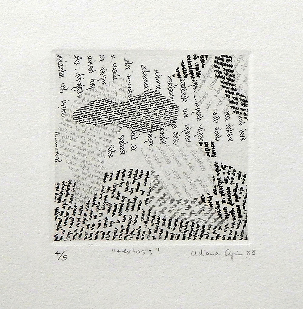 Textos, 1988, Etching, 3,94 x 3,94 inches, (10,5 x 10,5 cm)  XIV Mini Print International, Gadaques, Spain (1994)