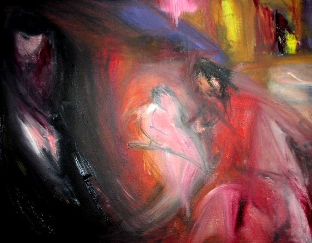 Couple Dancing with Jealous Man oil charcoal pencil on canvas 20x16in.jpg