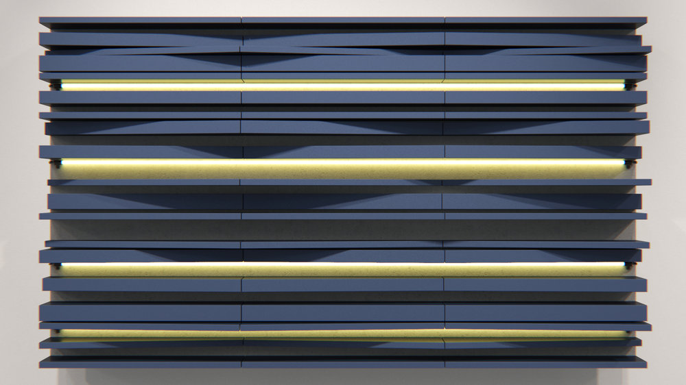 Massimiliano Fuksas 190 х 110 cm  oil, canvas, plywood, neon  Works by Fuksas are some of the most elegant examples of the new virtual reality in architecture. This painting was inspired by the Peres Center for Peace in Jaffa.