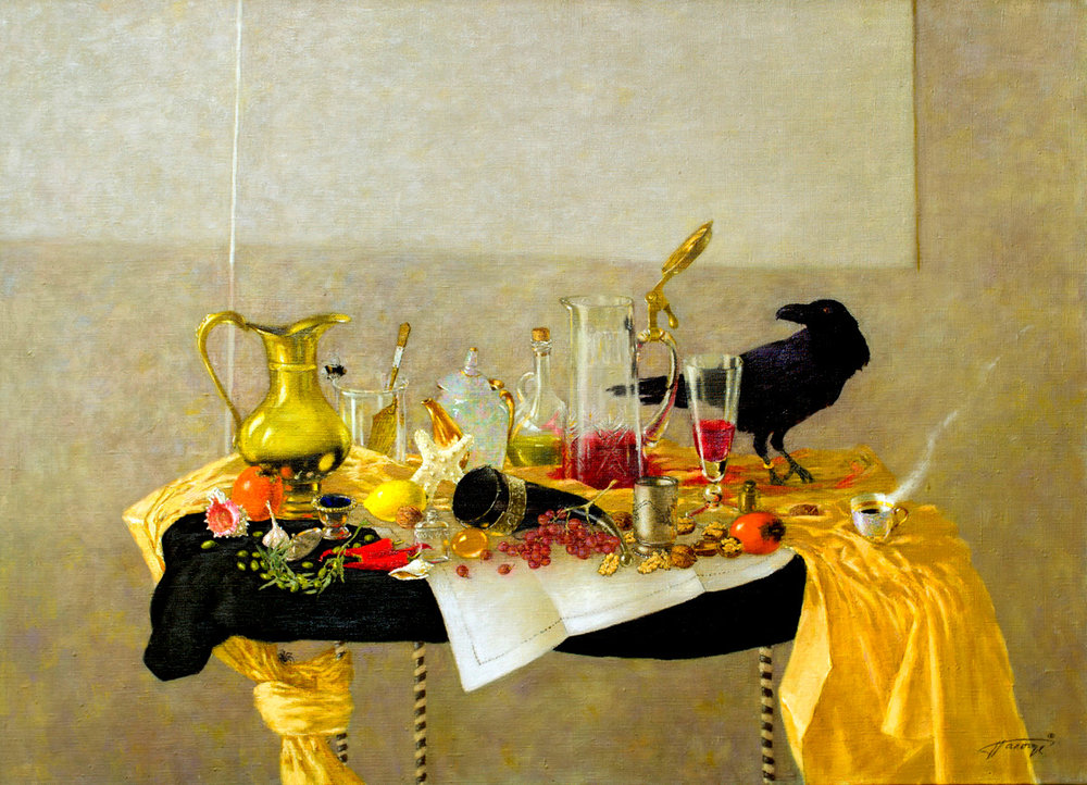 ((((( Still Life with Raven.Cornucopia. 65X90,oil on canvas,2013..jpg