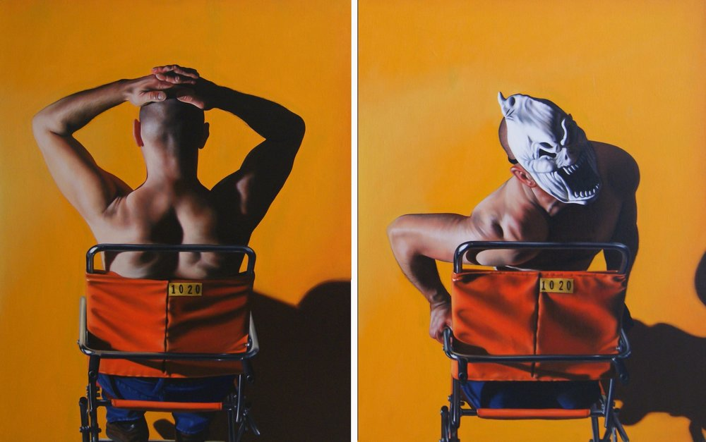 Autoportrait  2013, diptych, oil on canvas, each panel, 146 x 92 cm. Alix Ghanadpour.JPG