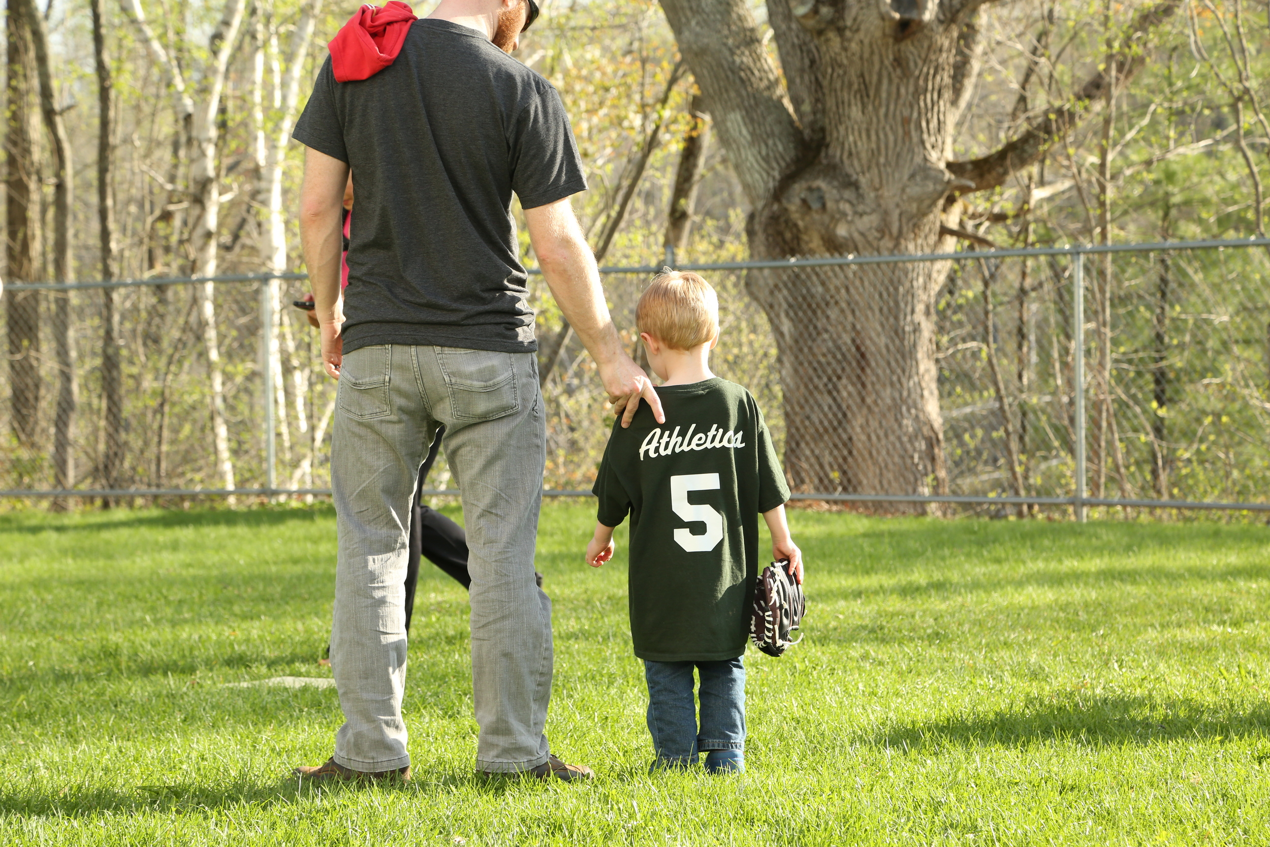 Then it was his turn in the outfield and everything went downhill from here.  A little coaching from Daddy...