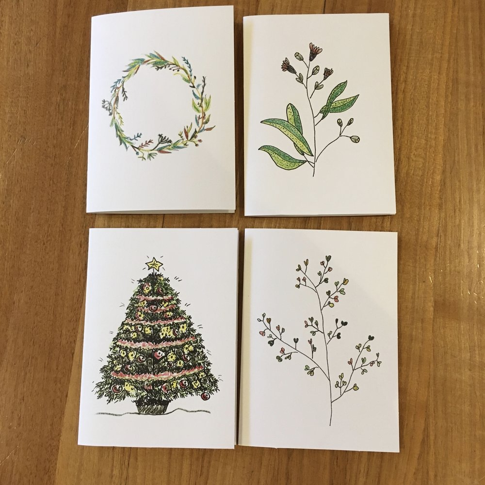 Boxed set of 4 mixed seasonal cards
