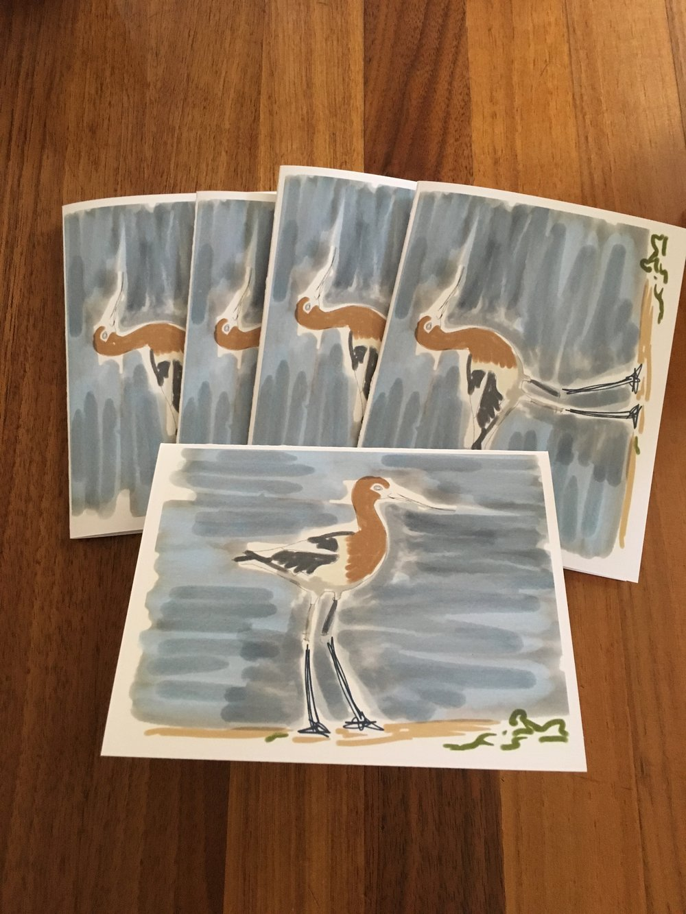 Set of Five Cards: Bird