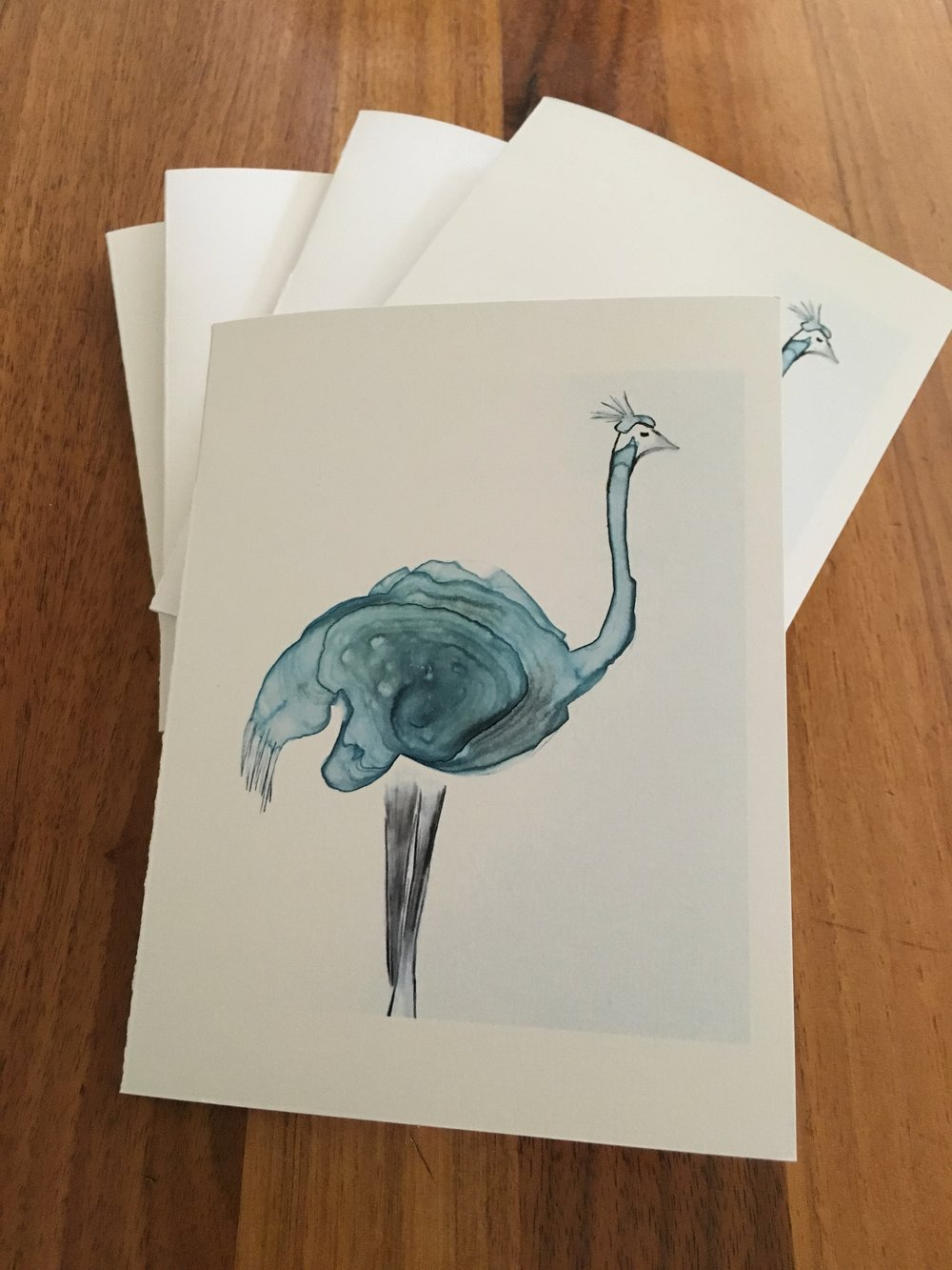Set of Five Cards: Ostrich