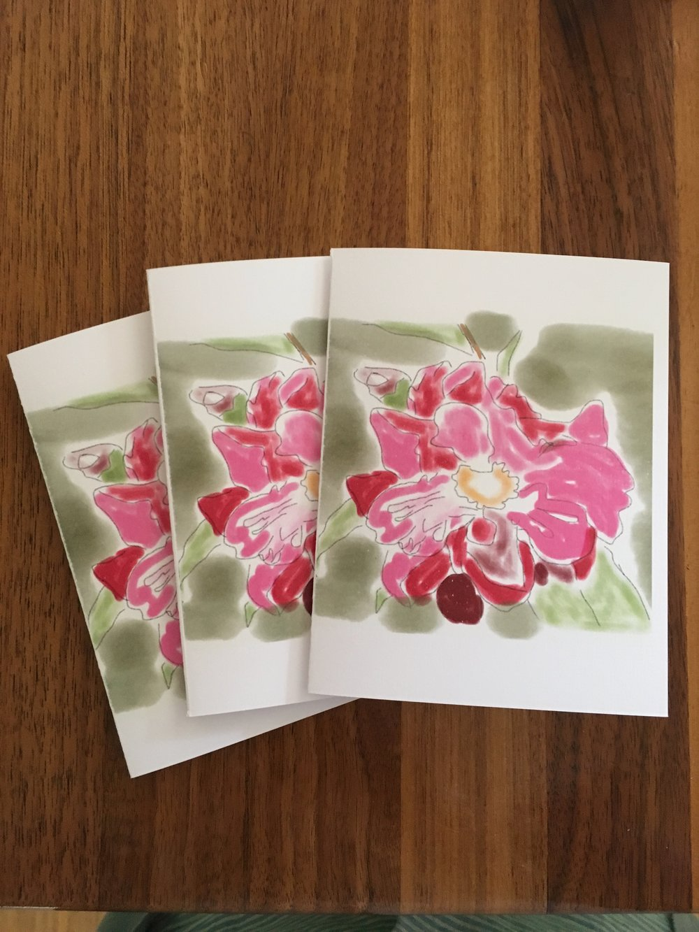 Set of Three Cards: Flower