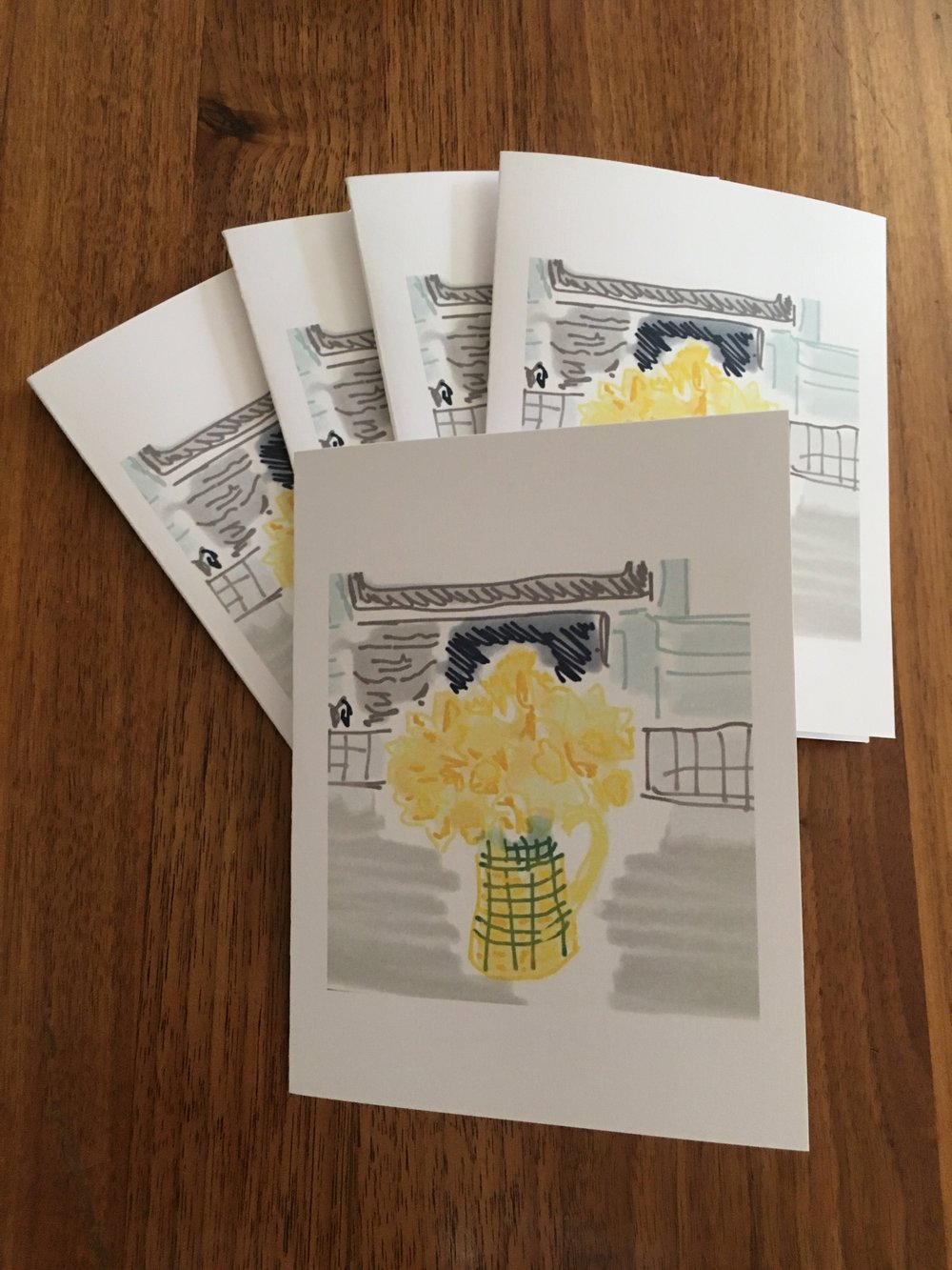Set of Five Cards: Daffodils