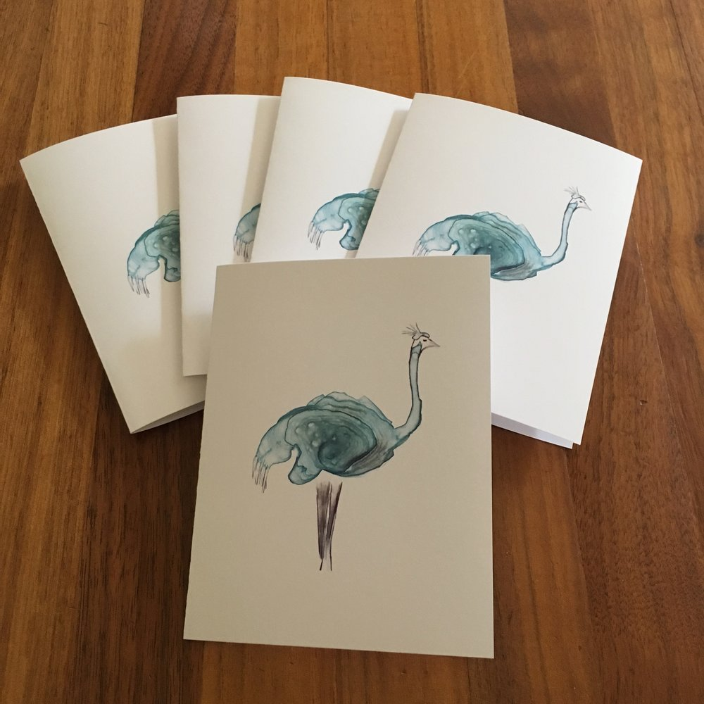 Set of Five Cards: Ostrich with Hat