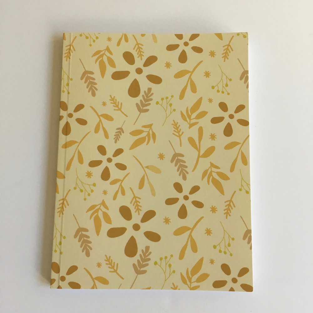 Soft cover journal in tossed floral pattern (honey)