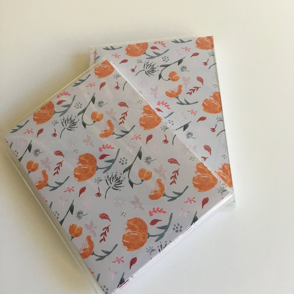 Watercolor card sets - orange flowers