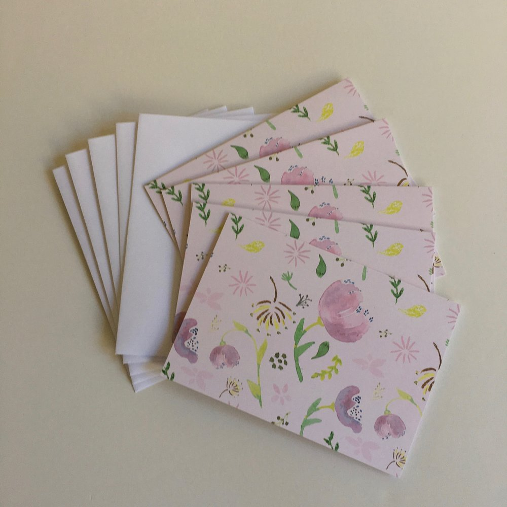 Watercolor cards - pink